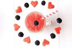 Frullati frutta e bacca dell'anguria fotografia stock