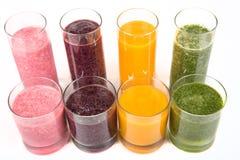 Frullati sani di quattro frutta, della bacca e delle verdure Fotografia Stock Libera da Diritti