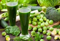 Frullati verdi degli spinaci Fotografia Stock Libera da Diritti