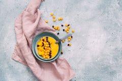Frullato del mango in ciotola Fotografie Stock