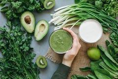 Frullato delizioso della minestra dell'alimento verde Fotografia Stock