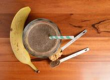 Frullato della banana del cioccolato Fotografia Stock
