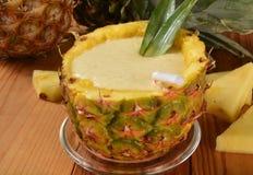 Frullato della banana dell'ananas Fotografia Stock Libera da Diritti
