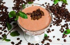 Frullato della fragola Banana fagioli di andcoffee del cacao Fotografia Stock