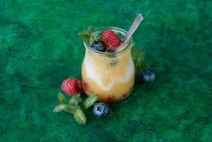 Frullato fresco del mango con yogurt Fotografie Stock