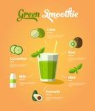 Frullato naturale di verde dell'alimento Immagini Stock