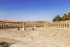 Fórum na cidade romana antiga de Gerasa, Jerash, Imagem de Stock Royalty Free