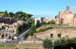 Fórum romano e Templum Veneris, Roma, Italia Imagens de Stock Royalty Free