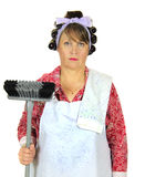 Frumpy Housewife With Broom Stock Images