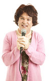 Frumpy Middle-Aged Singer Stock Photo