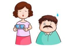 Frun klagar hans make i vardagsrum Arkivbilder