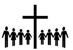 Frunce de las manos del asimiento del grupo de personas alrededor de una cruz Fotos de archivo libres de regalías