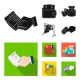 Frunza con las tarjetas de crédito y el otro icono del web en estilo negro, plano la venta del regalo de cosas, abotona más icono Foto de archivo libre de regalías