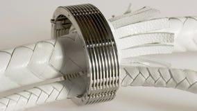Frusta bianca con un braccialetto Fotografia Stock Libera da Diritti
