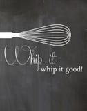 Frusta del manifesto della cucina della lavagna frusta buon Immagini Stock