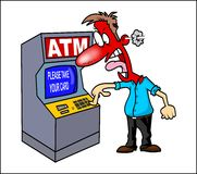 Frustated men ATM. Vector angry eaten card cartoon Stock Photography