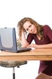 Frustración en el ordenador portátil Imagenes de archivo