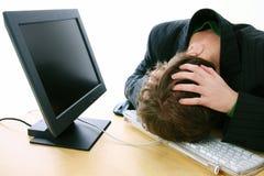 Frustración del ordenador Fotografía de archivo