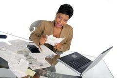 frustracja jej sytuacji finansowej Obrazy Royalty Free