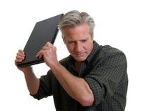 frustracja laptop Zdjęcie Stock