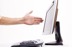 Frustrado en el ordenador Fotografía de archivo