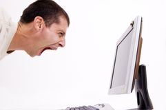 Frustrado no computador Fotos de Stock