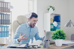 Frustrated angry annoyed disappointed head of a company is not s stock photo
