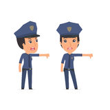 Frustrated and Angry Character Constabulary showing thumb down a Royalty Free Stock Photography