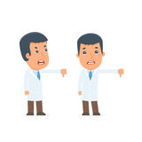 Frustrated and Angry Character Doctor showing thumb down as a sy Royalty Free Stock Image