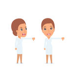 Frustrated and Angry Character Nurse showing thumb down as a sym Stock Images