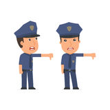 Frustrated and Angry Character Officer showing thumb down as a s Royalty Free Stock Images