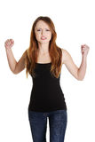 A frustrated and angry woman. With fists up stock images