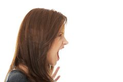 Frustrated and angry woman screaming. Stock Photos