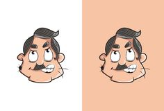 Frustrated and annoyed cartoon uncle face with mole on face. Stock Image
