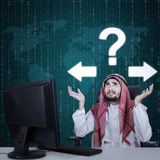 Frustrated Arabian worker and question mark royalty free stock photo