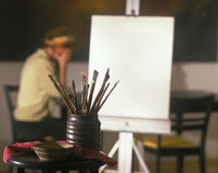 Frustrated artist with canvas Stock Photography