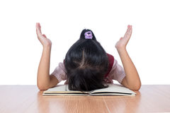 Frustrated Asian Chinese girl with head down on the table Stock Photos