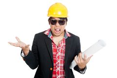 Frustrated  Asian engineer man cry mouth open angry scream Royalty Free Stock Photo