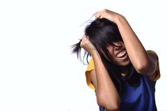 Frustrated asian female teen Stock Photo