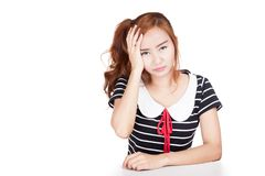 Frustrated Asian girl Royalty Free Stock Photos