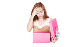Frustrated Asian girl open a gift box Stock Photos