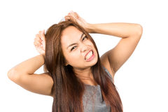 Frustrated Asian Girl Temper Tantrum Pulling Hair Royalty Free Stock Image