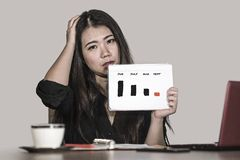 Free Frustrated Asian Japanese Business Woman Suffering Depression Holding Graph Diagram Showing Stock Market Stress With Benefits Drop Royalty Free Stock Image - 128896636