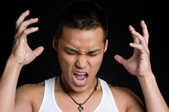 Frustrated Asian Man Royalty Free Stock Photos