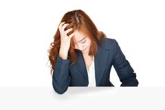 Frustrated Asian office girl Stock Photos