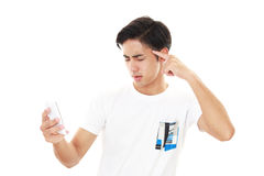 Frustrated Asian sman. Isolated on white background Royalty Free Stock Photos