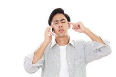 Frustrated Asian sman. Isolated on white background Stock Images