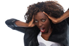Frustrated Black Woman. Beautiful African woman screaming with frustration Royalty Free Stock Photo