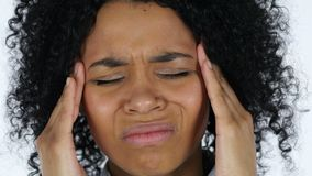Frustrated black woman with headache