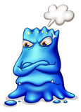 A frustrated blue monster with an empty callout Royalty Free Stock Photo